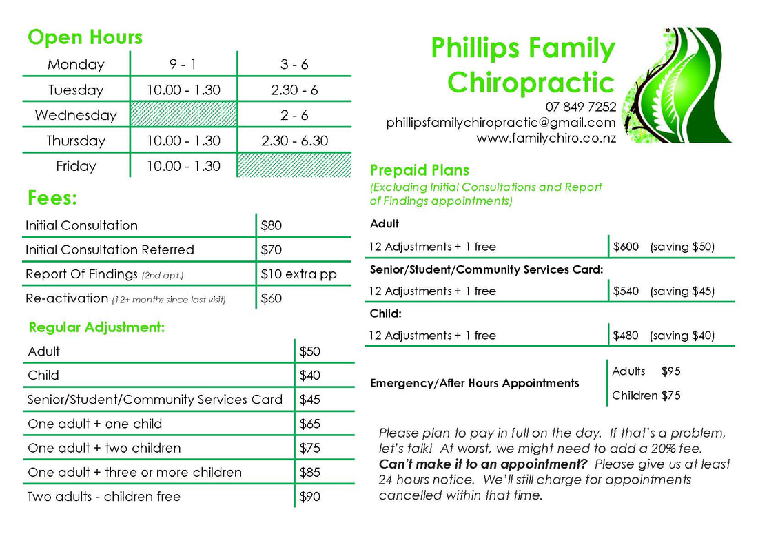 Phillips Family Chiropractic, Hours and Pricing